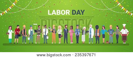 Labor Day Decoration Poster With People Of Different Occupations Over Template Background Flat Vecto