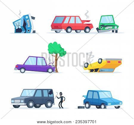 Vector Pictures Set Of Different Accidents On The Road. Big Damage Of Cars. Illustration Of Vehicle
