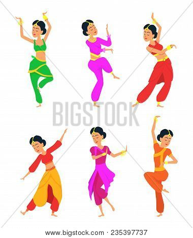 Female Indian Dancers. Cartoon Characters Female Indian Dancer, Dance Traditional Ethnic, Vector Ill