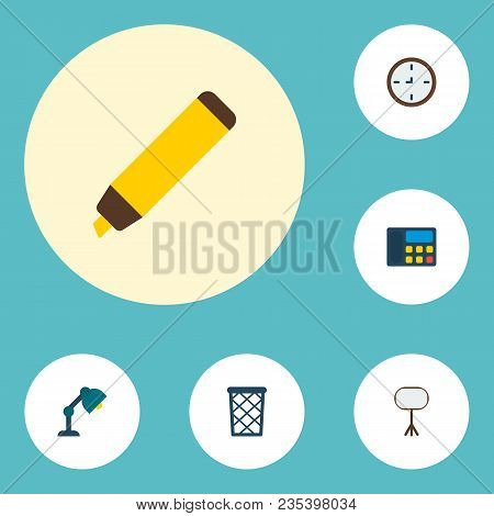 Set Of Office Icons Flat Style Symbols With Wall Clock, Whiteboard, Telephone And Other Icons For Yo
