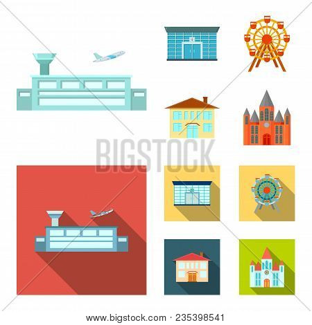 Airport, Bank, Residential Building, Ferris Wheel.building Set Collection Icons In Cartoon, Flat Sty