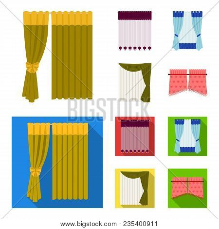 Curtains, Drapes, Garters, And Other  Icon In Cartoon, Flat Style. Textiles, Furniture, Bow Icons In