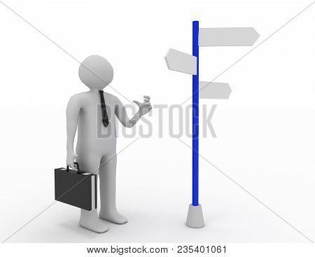 3d Man Making Choice . 3d Rendered Illustration
