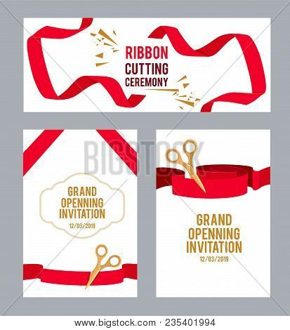 Banners Set With Pictures With Red Ribbons For Ceremony. Vector Scissors Cut Ribbon, Ceremony Invita