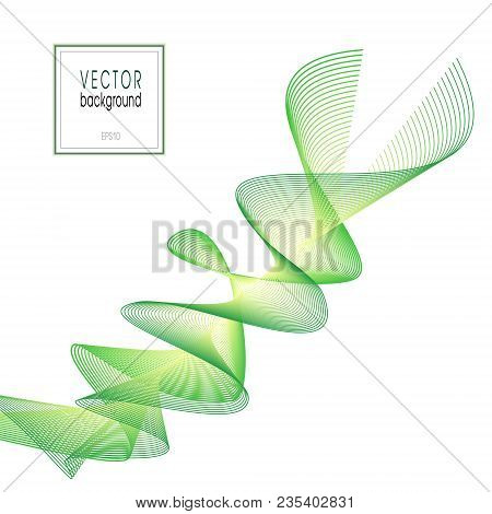 Abstract Spiral Line Art Wave. Vector Green And Yellow Wavy Background, Flowing Ribbon Imitation. Wa
