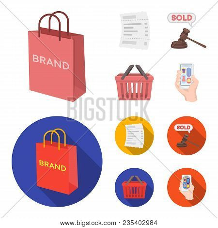 Bag And Paper, Check, Calculation And Other Equipment. E Commerce Set Collection Icons In Cartoon, F