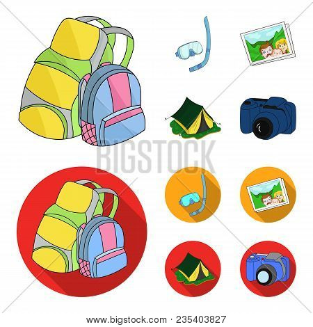 Travel, Vacation, Backpack, Luggage .family Holiday Set Collection Icons In Cartoon, Flat Style Vect