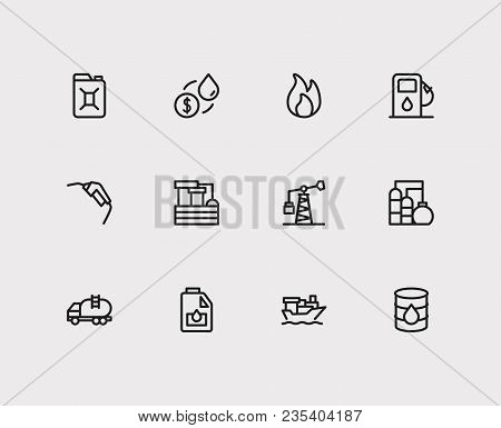 Oil Icons Set. Oil Industry Market And Oil Icons With Tanker Ship, Tanker Truck And Oil Water Factor
