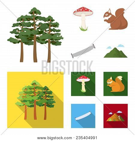 Pine, Poisonous Mushroom, Tree, Squirrel, Saw.forest Set Collection Icons In Cartoon, Flat Style Vec