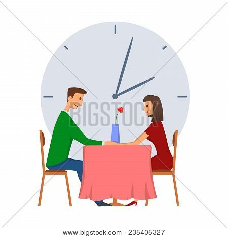Speed Dating, Concept Vector Illustration, Isolated On White Background. Young Man And Woman On A Da
