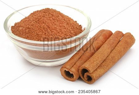 Bunch Of Some Fresh Aromatic Cinnamon With Powder Spice