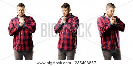 Young man crying depressed full of sadness expressing sad emotion isolated over white background, collage composition