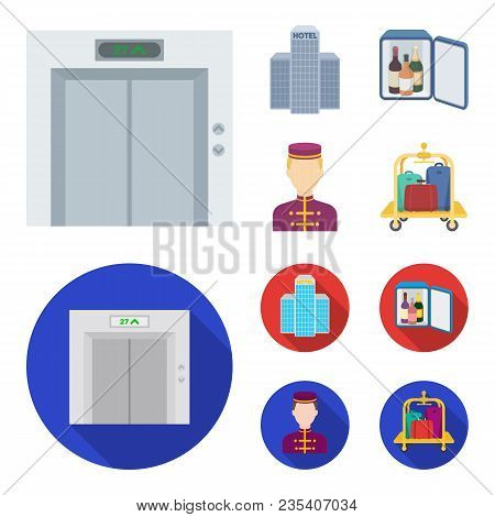 Elevator Car, Mini Bar, Staff, Building.hotel Set Collection Icons In Cartoon, Flat Style Vector Sym