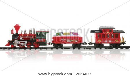 A colorful holiday Christmas train over a white background poster