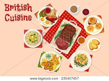 British Cuisine Breakfast Food Icon. Egg, Bacon, Sausage And Beans With Toast, Oatmeal With Fruit An