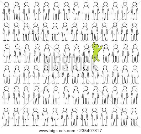 Cartoon Working  Little People Stand In A Row. Doodle Cute Scene Of Workers About Individuality. Han