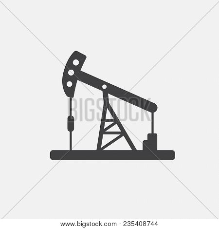 Oil Pump. Oil Derrick. Vector Icon Isolated On White. Simple Pictogram Jack, Well, Tower, Energy Equ