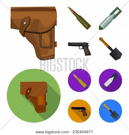 Holster, Cartridge, Air Bomb, Pistol. Military And Army Set Collection Icons In Cartoon, Flat Style