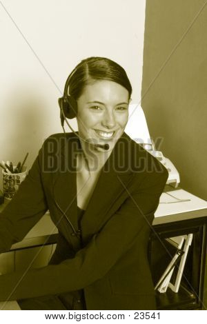 Sepia Headset Worker
