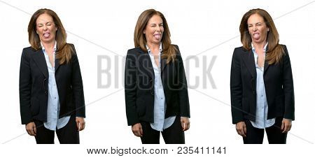 Middle age business woman feeling disgusted with tongue out over white background