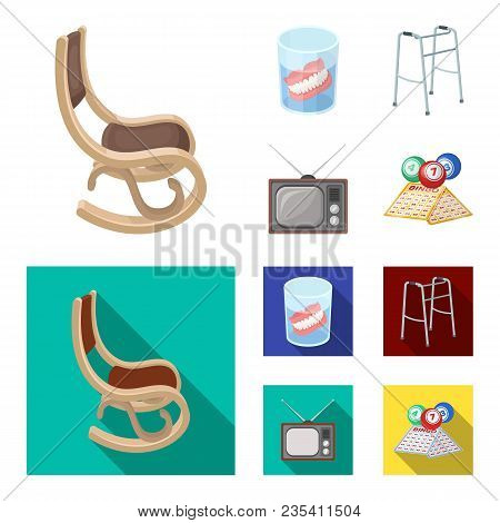 Denture, Rocking Chair, Walker, Old Tv.old Age Set Collection Icons In Cartoon, Flat Style Vector Sy