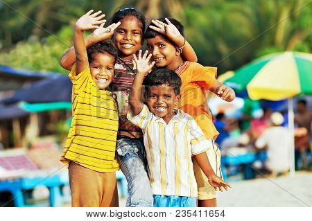 Goa, India - January 14: Poor Indian Children Celebrating Thai Pongal Holiday, January, 14, 2013 In