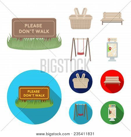 Lawn With A Sign, A Basket With Food, A Bench, A Swing. Park Set Collection Icons In Cartoon, Flat S