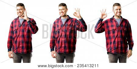 Young man doing ok sign with hand, approve gesture isolated over white background, collage composition