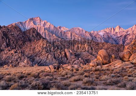 Mountain Whitney And Lone Pine Peak View On Sunrise At Alabama Hills, Eastern Sierra Nevada Mountain