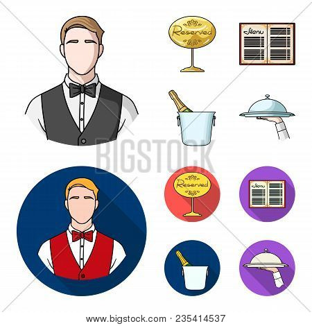 Waiter, Reserve Sign, Menu, Champagne In An Ice Bucket.restaurant Set Collection Icons In Cartoon, F