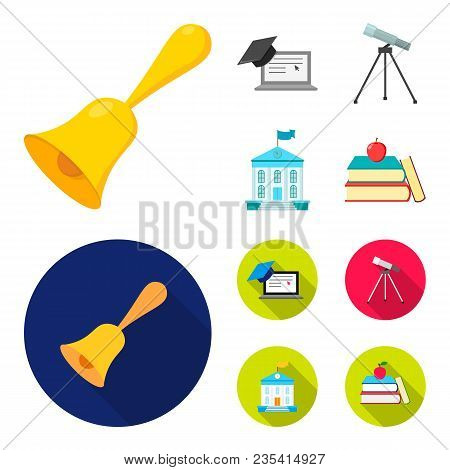 School Bell, Computer, Telescope And School Building. School Set Collection Icons In Cartoon, Flat S