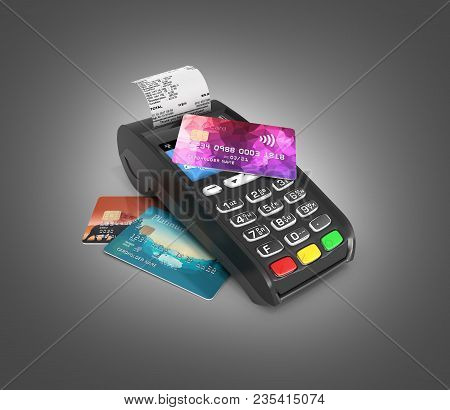Payment touch concept POS terminal with receipt and credit card on it isolated on dark gradient background 3d render poster