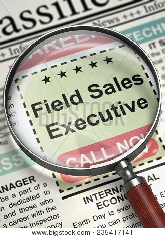 Field Sales Executive. Newspaper With The Vacancy. Newspaper With Advertisements And Classifieds Ads