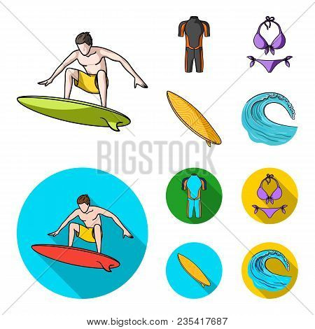 Surfer, Wetsuit, Bikini, Surfboard. Surfing Set Collection Icons In Cartoon, Flat Style Vector Symbo