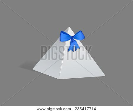 Realistic Template, Mockup Gift Paper Packaging, In Form Triangular Pyramid.