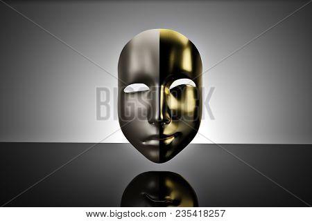 Gold And Silver Masks Yin And Yang Masks On Black Background.3d Illustration.