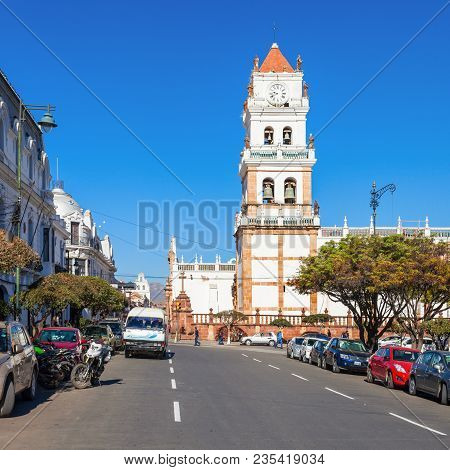 Sucre, Bolivia - May 22, 2015: Sucre Cathedral Or Metropolitan Cathedral Located On Plaza 25 De Mayo