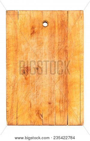 Very Old Wooden Cutting Board Isolated On White Background, Top View