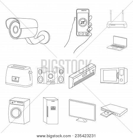 Smart Home Appliances Outline Icons In Set Collection For Design. Modern Household Appliances Vector