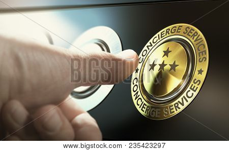 Man Contacting Concierge Service By Pushing A Golden Button. Composite Image Between A Hand Photogra