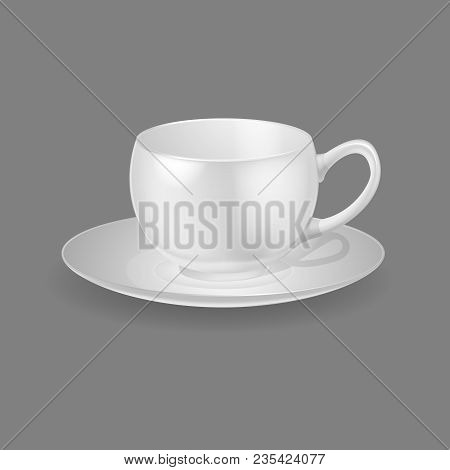 Realistic Template, Mock-up, Porcelain Ceramic Ware. Ware Dishes For Drinking Sweet Drinks, Tea, Cof