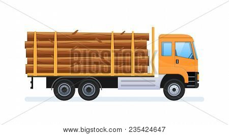 Wood Production And Forestry. Log With Load In Form Of Felled Trees, Forestry Equipment For Loading
