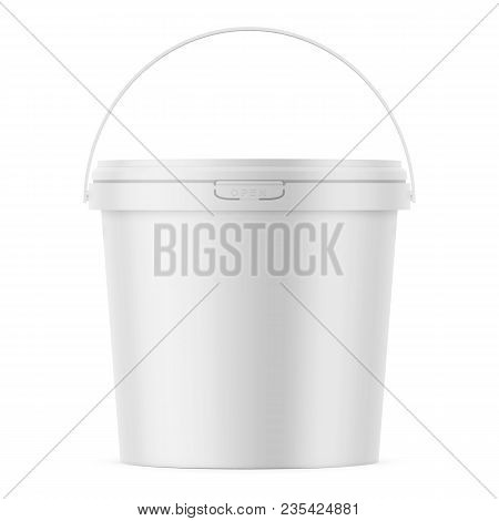 White Matte Plastic Bucket For Food Products, Paint, Household Stuff. 900 Ml. Realistic Packaging Mo