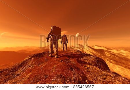 Astronauts Enter Into Derelict Planet Or Doing Some Exploration On A New Planet He Discover,3d Rende
