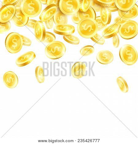 Golden Coin Rain Poster. Falling Gold Currency Or Cash Money With Dollar Sign 3d Background For Busi