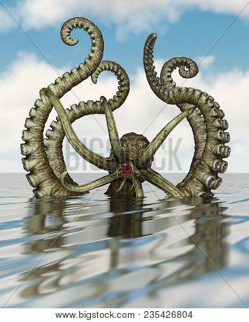 Giant Octopus Or Deep Sea Creature,3d Rendering