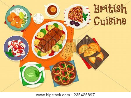 British Cuisine Traditional Roast Beef Icon Served With Meat And Plum Fruit Pie, Baked Brisket With