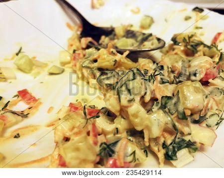 Crab Salad. Fresh Summer Lettuce Salad.healthy  Salad On Wooden Table. Vegetarian Food.