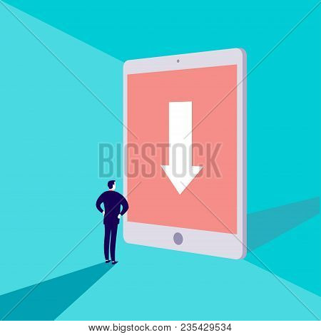 Vector Business Concept Illustration With Businessman Standing In Front Of Big Tablet With Destinati
