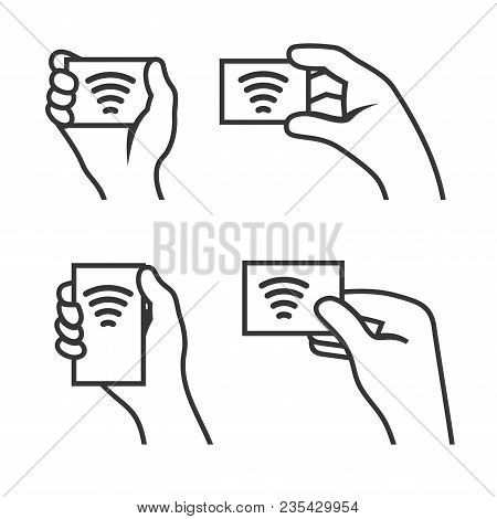 Hand With Rfid Card Set. Vector Illustration